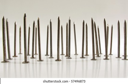 Bed of carpentry nails standing upright on a white reflective background