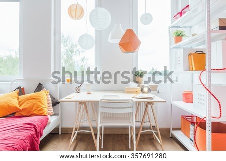 Bed Desk Homely Girls Room Stock Photo Edit Now 357691280