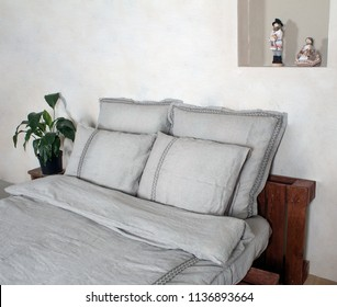 BED LINEN, LEN, SILVER