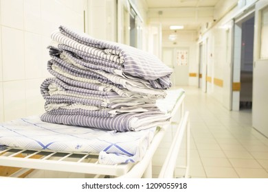bed linen on hospital bed in hospital corridor