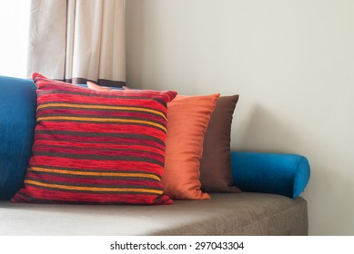 Bed pillow in bedroom interior