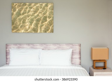 Bed room Interior design with big picture of water on wall