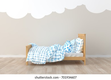 Bed room kids room. 3d interior