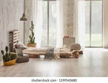 bed room and wood detail style grey wall decoration modern home interior concept. garden view and parquet.