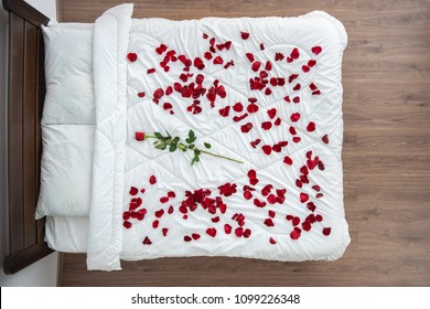 The bed with a rose petals. view from above