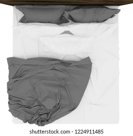 Bed top view / Bed overhead view isolated on white background perfect for use for 2d colour floor plans or design projects.