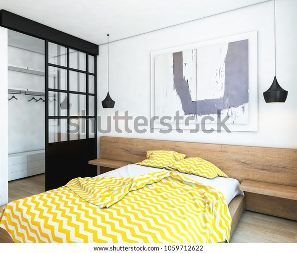 Bed Wall Art Modern Bedroom Stock Photo (Edit Now) 1059712622