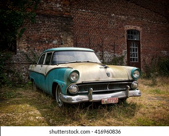 BEDBURG, GERMANY - JULY 24: Oldtimer 1955 Ford Fairlane in a good condition.