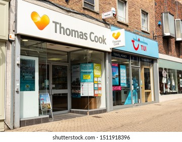Bedford, Bedfordshire, UK, 05/19/2019. Thomas Cook and Tui tour operator office  in Bedford town center.