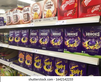 Bedford, Bedfordshire, UK - January 2020: Chocolate Easter Eggs and Treats on supermarket display