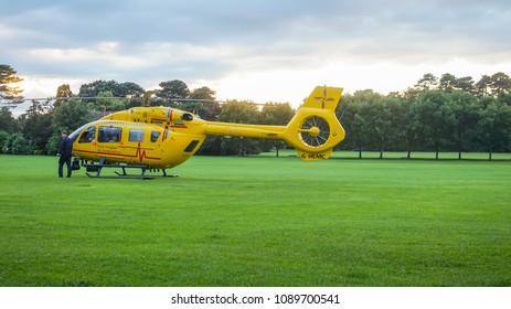 Bedford, Bedfordshire, UK, July 11,2016. Ambulance helicopter in Bedford Park.