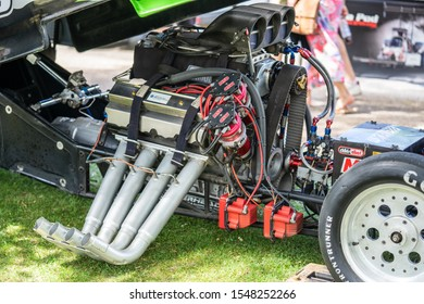Bedford, Bedfordshire, UK. June 2, 2019. Festival of Motoring.Dragster engine.Hood scoops on a car
