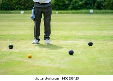 Bedford, Bedfordshire, UK. May 19,2019.Bowls or lawn bowls. Free community event in Bedford park