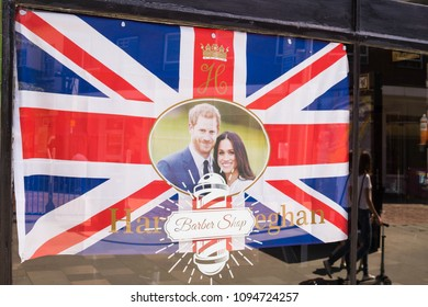 Bedford, Bedfordshire,UK, May 19, 2018. A Union Flag decorated with images of Prince Harry and Meghan Markle in a window display.