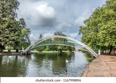 Bedford embankment and bridge in the English county of Bedfordshire