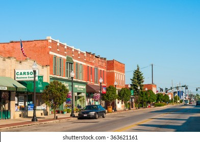 BEDFORD, OH - JULY 25, 2015: With many old buildings over a century old, this southeastern Cleveland suburb retains its small-town-America atmosphere.