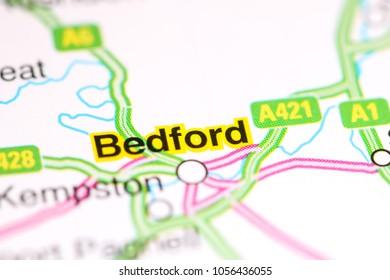 Bedford. United Kingdom on a map
