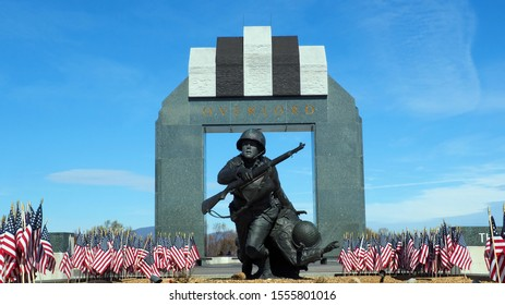 Bedford, Virginia / USA - November 10, 2019: Facets of the National D-Day Memorial in Bedford, Virginia, commemorating the D-Day landings on June 6, 1944.
