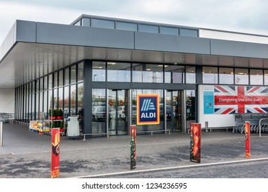 Bedford,Bedfordshire,England on 15th Nov 2018: Aldi Bedford UK is part of the German Aldi Group who are global players in the retail sector of food, beverages and other non food items