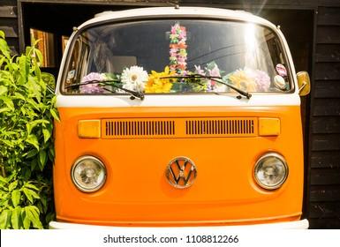 Bedford,Bedfordshire,UK,March 13,2018.Orange vw retro bus camper.