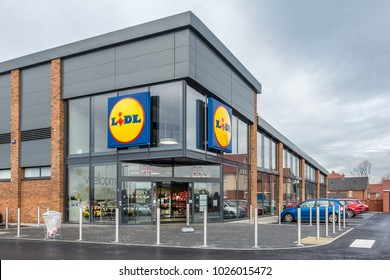 Bedford,England on 14th Feb 2018:Lidl is a German global discount supermarket chain, based in Neckarsulm, Germany that operates over 10,000 stores across Europe and USA