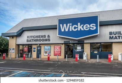 Bedford,England on the 23rd Jan 2019:Wickes is a British home improvement retailer and garden centre, based in the UK and owned by Travis Perkins.Its main business is the sale of materials for DIY