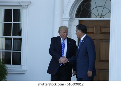 BEDMINSTER, NEW JERSEY - 19 NOVEMBER 2016: President-elect Donald Trump & Vice President-elect Mike Pence met with potential cabinet members at Trump International. Gov Mitt Romney visits