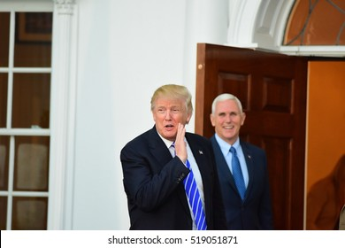 BEDMINSTER, NEW JERSEY - 19 NOVEMBER 2016: President-elect Donald Trump & Vice President-elect Mike Pence met with potential cabinet members at Trump International