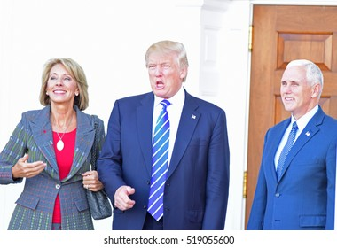 BEDMINSTER, NEW JERSEY - 19 NOVEMBER 2016: President-elect Donald Trump & Vice President-elect Mike Pence met with potential cabinet members at Trump International. Betsy DeVos, possible education sec