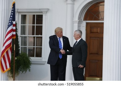 BEDMINSTER, NEW JERSEY - 19 NOVEMBER 2016: President-elect Donald Trump & Vice President-elect Mike Pence met with potential cabinet members at Trump International. Marine Corps Gen (ret) James Mattis