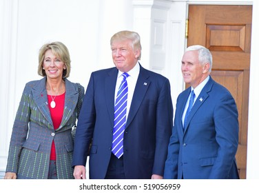 BEDMINSTER, NEW JERSEY - 19 NOVEMBER 2016: President-elect Donald Trump & Vice President-elect Mike Pence met with potential cabinet members at Trump International. Poss Education Sec Betsy DeVos