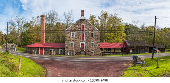 BEDMINSTER, PENNSYLVANIA - OCTOBER 16 - A panoramic view of the historic Stover-Myers Mill built in 1800  on the National Register of Historic Places on October 16 2018 in Bucks County Pennsylvania.