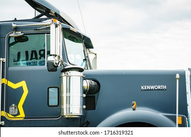 Bednary near Poznan, Poland - September 20, 2019: Logo of brand Kenworth on truck machine. Kenworth is an American manufacturer of medium and heavy-duty trucks. Agroshow in Poland.