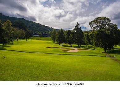 Bedoegoel, Bali / Indonesia - February 4 2019: Handara Golf & Resort Bali. Golf course, golfers