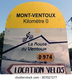 bedoin,france-august 15, 2015: start point for the mont ventoux in bedoin