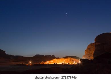 Bedouin camp in the Wadi Rum desert, Jordan, at night