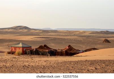 Bedouin desert camp near sanddunes of Merzouga, Morocco
