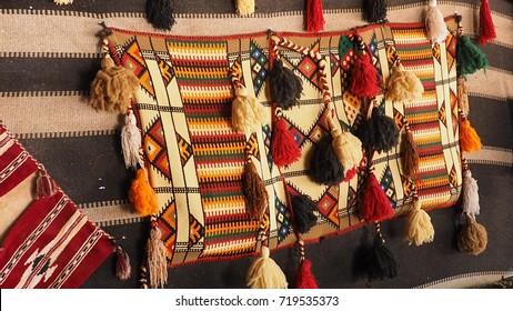 Bedouin handmade colorful rug inside tent in Wadi Rum  , Jordan