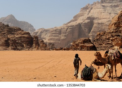 Bedouin man with his camels in the Jordanian desert of Wadi Rum - The Bedouin way of life is closely connected to the desert and its creatures, and their livelihood depends on camels and sheep.