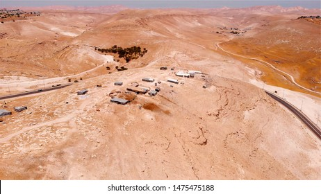 Bedouin outpost in the desert Aerial view Drone footage over Bedouin outpost Close to Israeli City Maale Adumim Aerial
