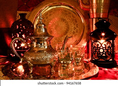 Bedouin tea party set up in a warm oriental candlelight  atmosphere