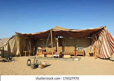 Bedouin tent in the desert of Wadi Rum, Jordan, Middle East