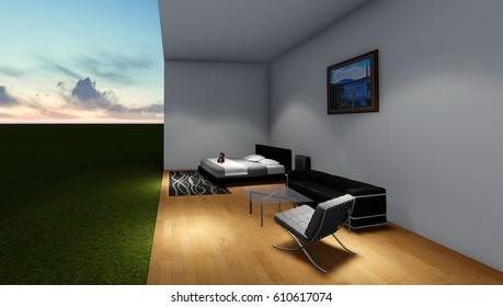 Bedroom 3d solid wood flooring