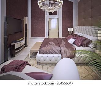 Bedroom Art Deco style. 3d render