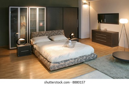 Bedroom With Big Double Bed And Big Closet