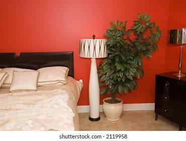 Bedroom in black - red - white variations