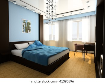 Bedroom in blue tones