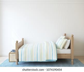 Bedroom for boy. Interior mock-up. 3d render.