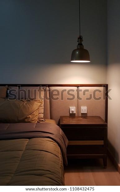 Bedroom Corner Cabinet Hang Lamp Stock Photo (Edit Now ...