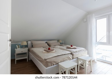 Bedroom in a cottage on the Baltic Sea